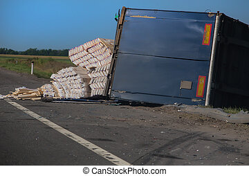 accident on the road overturned truck