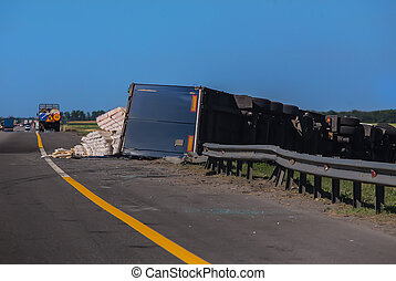 accident on the road overturned truck semi-trailer with ...