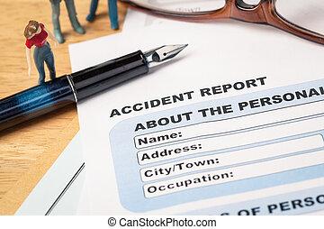 accident, rapport, formulaire demande, et, stylo, sur, brun,...
