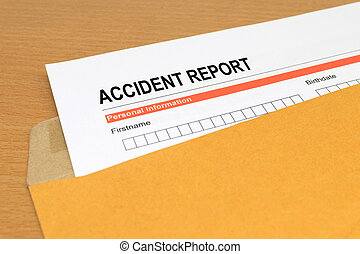 Accident report form on brown envelope