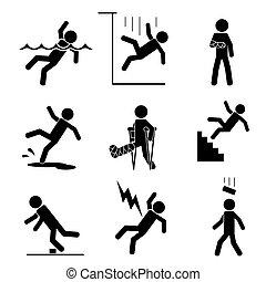 accident, sécurité, icônes