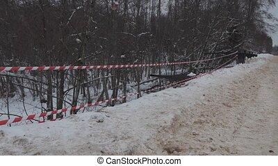 accident scene after a car crash on a bridge