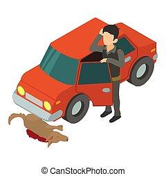 Accident scene icon, isometric 3d style