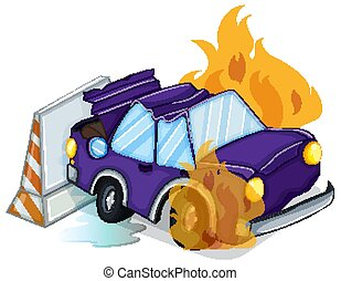 Accident scene with car on fire