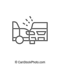 Accident, side collision with two automobiles, car crash line icon.