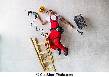 accident, sommet, ouvrier, site., construction, vue., homme