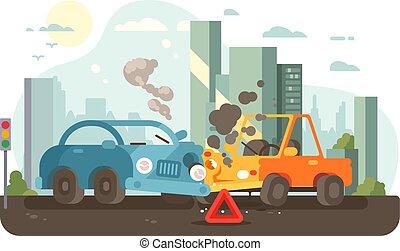 accident, trafic, scène, route