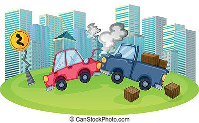 accident voiture, élevé, bâtiments, devant