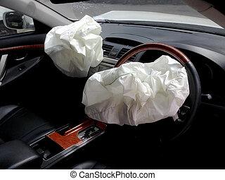 accident, voiture, après, éruption, dû, airbags, inflation, collision, dégonflé, airbag, travail