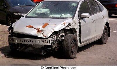 accident, voiture, après, ecrasé, trafic, stand, fond, côté, route