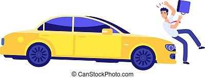 accident voiture, bas, illustration, trafic, event., règles, violer, vecteur, piéton, person., frappe, assuré