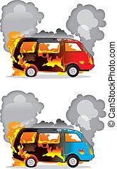 accident voiture, brûlé