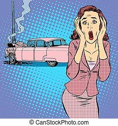 accident voiture, chauffeur, femme