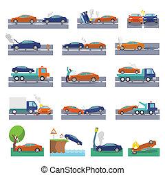 accident voiture, icônes