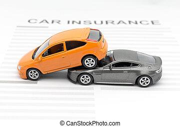 accident, voiture jouet, à, assurance, concept