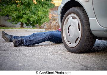 accident voiture, mort, après, piéton
