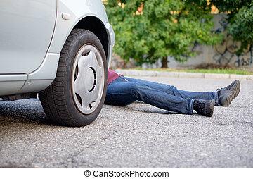 accident voiture, piéton, après, mort