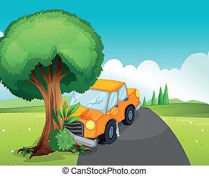 accident voiture, route, arbre, grand