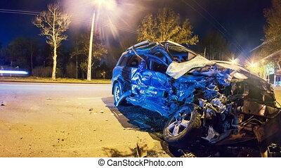 accident., voiture, timelapse, zoom, ecrasé, route