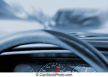 accident voiture, (toned, dans, blue)
