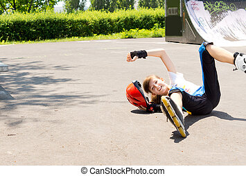 Accident while roller skating - Young girl has an accident...