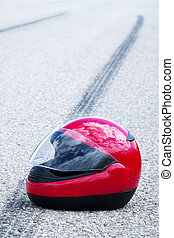 accident with a motorcycle. traffic accidents with skid marks