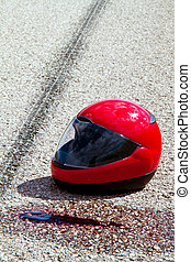 accident with motorcycle. traffic accident with skid marks
