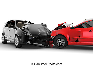 Accident with two cars - A red car and one black crash in an...