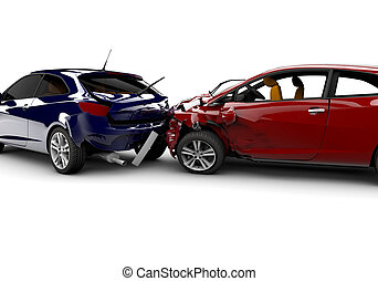 Accident with two cars - Two cars in an accident isolated on...