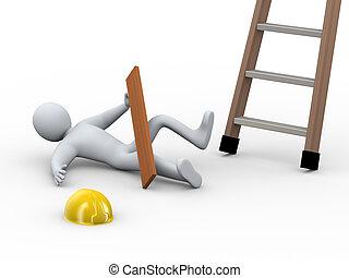 accidente, -, 3d, hombre, herido, escalera