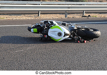 accidente, bicicleta, moto, camino