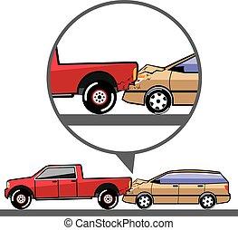 accidente, camión, vagón, ruina, suv