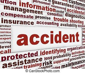 accidente, cartel, concepto
