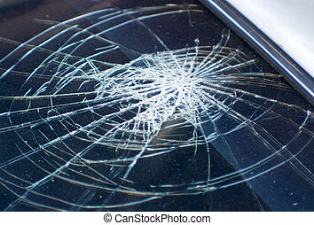 accidente, coche, vidrio, roto