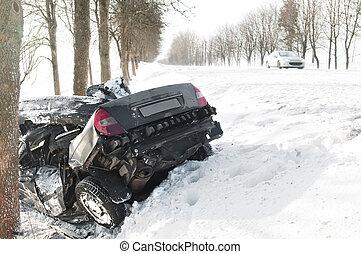 accidente de coche, choque, invierno