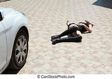 accidente de coche, con, mujer