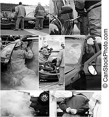 accidente de coche, escena, collage.
