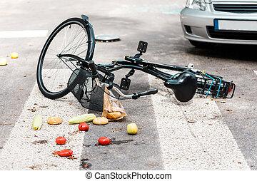accidente, en, paso de peatones