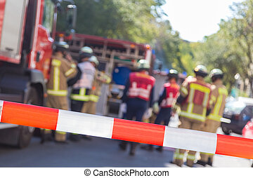 accidente, firetruck, bomberos, location., equipo