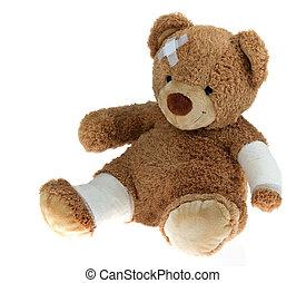 accidente, oso, después, venda