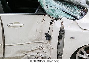 accidente, puerta, coche, después, choque, era