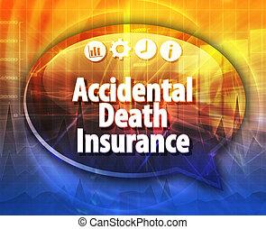 accidentel, mort, assurance, business, terme, bulle discours, illustration