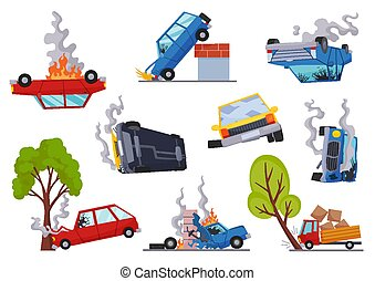 Accidents on road cars damaged. Road accident icons set with...