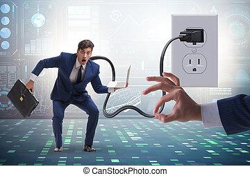 accionado, enchufe, ser, electricidad, hombre de negocios