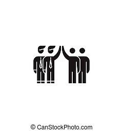accionista, acordo, pretas, vetorial, conceito, icon., accionista, acordo, apartamento, ilustração, sinal