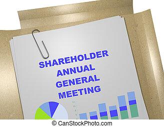 accionista, reunião anual general, -, conceito negócio