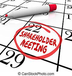 accionista, reunião, calendário, dia, data, programa, circundado, lembrete