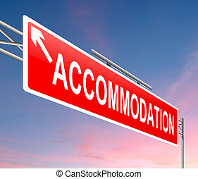 Accommodation concept - Illustration depicting a sign with ...