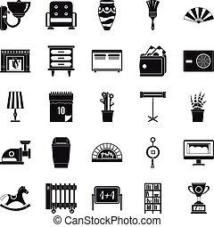 Accommodation icons set, simple style