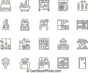 Accomodation line icons, signs, vector set, outline...